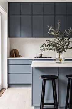 Home Decor Kitchen .Home Decor Kitchen Home Decor Kitchen, Kitchen Interior, New Kitchen, Home Kitchens, Kitchen Dining, Blue Kitchen Ideas, Grey Kitchens, Kitchen Tips, Kitchen Cabinets