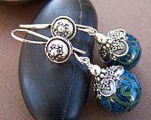 Gabby Earrings - Lampwork Glass Bead Sterling Silver Earrings