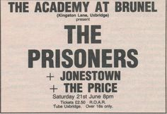 The Prisoners - 1986.06.21 London The Academy (Ad)