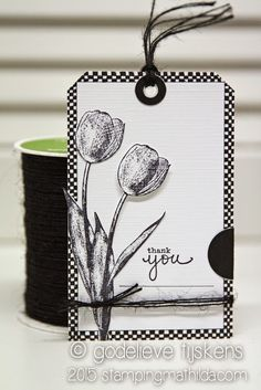Tulips on this black & white tag. The tulip is from an older Darkroom Door stamps set: Garden Greetings. Atc Cards, Card Tags, Stampin Up Cards, Gift Tags, Cardboard Crafts, Paper Crafts, Zentangle, Handmade Tags, Black White Art
