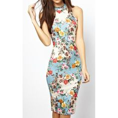 Stylish Stand Collar Floral Print Sleeveless Bodycon Dress For Women, AS THE PICTURE, S in Dresses 2014 | DressLily.com