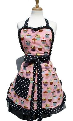 I think this goes with my malt shop dream :) - Cupcake Apron Retro Vintage Inspired 1950s Kitchen by Suburban50s, $33.00