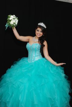 Tiffany blue quinceanera dress