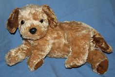 TY Classic Scrapper Brown ear Puppy Dog PlushTySilk 2002 Stuffed Animal soft toy #Ty