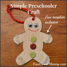 East Coast Mommy Simple Gingerbread Man Ornament - Preschooler Craft & Paper Plate Gingerbread Man Kid Craft | Gingerbread man ...