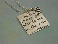 Hand Stamped Jewelry - Be The Change - Sterling Silver Hand Stamped Necklace. $48.00, via Etsy.
