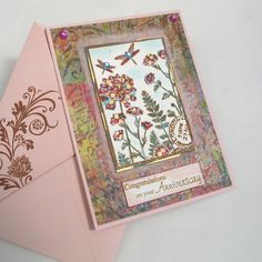 Anniversary Card Butterfly Garden in Pink by AdienCardsandGifts, $4.00