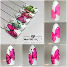 Simple Nail Art Designs That You Can Do Yourself – Your Beautiful Nails Butterfly Nail Designs, Butterfly Nail Art, Simple Nail Art Designs, Fall Nail Designs, Cute Nail Designs, Nail Art Diy, Easy Nail Art, Cool Nail Art, Nail Art Papillon
