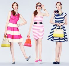 it's the season for stripes- Kate Spade New York. | At Fluffpop, we love pink, stripes and fashion 2014!  We sure do love this style!