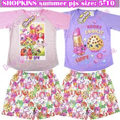 Shopkins Kid s Girl s summer pjs pyjama outfit set sleepwear new AU stock xmas