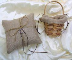 The Original Burlap Ring Pillow and Flower Basket set by RomancingJuliet, via Flickr