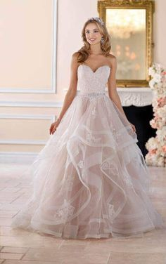 6432 Pink Floral Lace Wedding Dress with Textured Skirt by Stella York