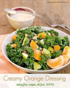 Creamy Orange Salad Dressing #dairyfree #vegan #oilfree #glutenfree #healthy #salads www.plantpoweredkitchen.com