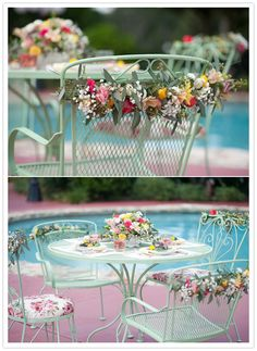 floral arrangement for a summer pool party, flowers on the chairs, seems a little excessive (and expensive).  Photographer: Jordan Weiland Photography  Florals: Heather Taylor, of Taylormade Wedding and Event Flowers