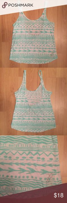 🔥VS Pink Low Back Tribal Print tank This top is adorable and has a low back - looks great with a caged bralette! PINK Victoria's Secret Tops Tank Tops