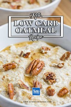 Keto Oatmeal No Oats Low-Carb Porridge Recipe Warm & Creamy - Keto - Ideas of Keto Breakfast - Low Carb Oatmeal Porridge. This quick and easy breakfast recipe is hot creamy and high in fiber. It's a no oat hot cereal that's a healthy way to start the day! Porridge Recipes, Oatmeal Recipes, Low Carb Desserts, Low Carb Recipes, Coconut Recipes, Flour Recipes, Veg Recipes, Ketogenic Recipes, Indian Recipes