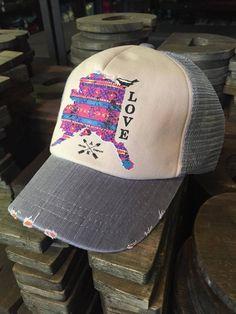 "Alaska Chicks Co - Alaska ""Love"" Mesh Trucker Hat - more color options, $15.00 (http://www.alaskachicks.com/alaska-love-mesh-trucker-hat-more-color-options/)"
