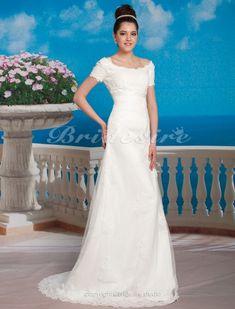 A-line Empire Sweep/ Brush Train Organza Over Satin Scoop Wedding Dress - $191.99