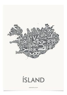 ÍSLAND - KOKSGRÅ - 50x70 CM | Kortkartellet