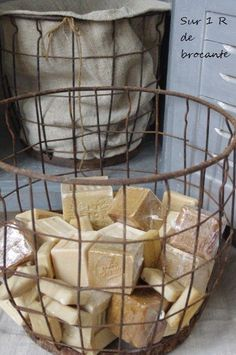 metal basket of French soaps