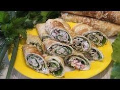 Слишком вкусная ЗАКУСКА за 10 минут. Попробуйте и убедитесь сами! - YouTube Kefir, Fresh Rolls, Sushi, Appetizers, Food And Drink, Cooking Recipes, Tasty, Ethnic Recipes, Youtube
