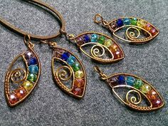 Eye pendant with stones rainbow colors- Wire Wrapping stones 164