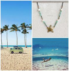 Petite Fraise Handmade: Summer inspirations. Diving into the blue and some new handmade Summer jewelry #starfish #seastar #necklace #holidays #beach #seaside #palm #adventure #wanderlust #travel