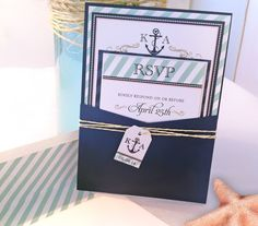 Nautical Wedding Invitation  Megan Elizabeth by MeganElizabethShop, $65.00