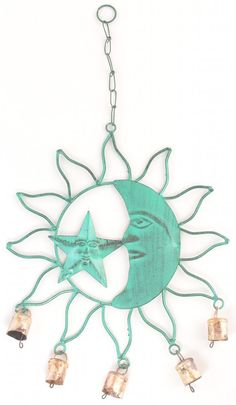 Metal Wind Chime Celestial Sun Moon & Star Design Verdigris Yard Garden Decor