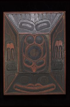 """Bent-wood box with eagle and killer whale designs  (Containers and Vessels)  """"1880-1910""""  Captain Richard Carpenter, Heiltsuk (Bellabella), 1841-1931"""