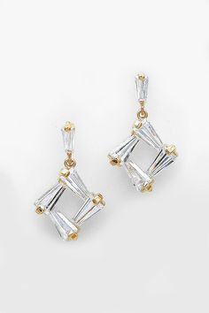CZ Taylor Earrings in Gold on Emma Stine Limited