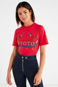 Kyoto Embroidered Floral Tee, size S, UO