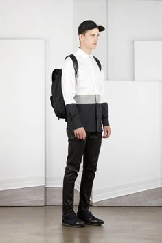 NEIL BARRETT - SS13 MENSWEAR Pre-Collection | #2 · Slim fit pannelled shirt · Leather jean pant · Brasilia rucksack · Leeds trainers