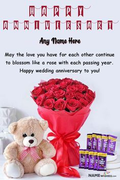 Happy Marriage Anniversary Wish With Name Online Gift. This beautiful marriage anniversary wish is unique and an online free gift to sen to the lovely couple. This is a cute teddy, with roses bouquet and chocolates. Anniversary Wishes For Couple, Happy Marriage Anniversary, Anniversary Greetings, Romantic Anniversary, Red Balloon, Balloons, Balloon Backdrop, Free Wedding, Rose Bouquet