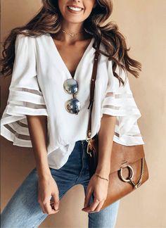 $27.99 2018 Chicnico Fashion Summer Flounce Sleeve White Blouse Top