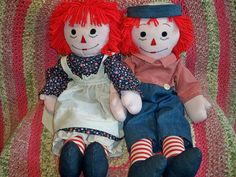 Vintage 1970s Raggedy Ann and Andy Dolls Large Handmade by BlackRain4