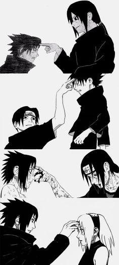 Sasuke poking sakura in the forehead the same way itachi use to do to him. I wonder why sasuke used that specific gesture towards sakura. <3