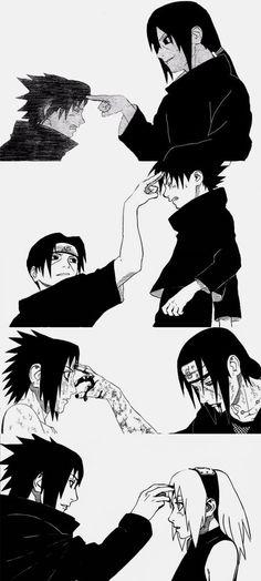Sasuke poking sakura in the forehead the same way itachi use to do to him. I wonder why sasuke used that specific gesture towards sakura.