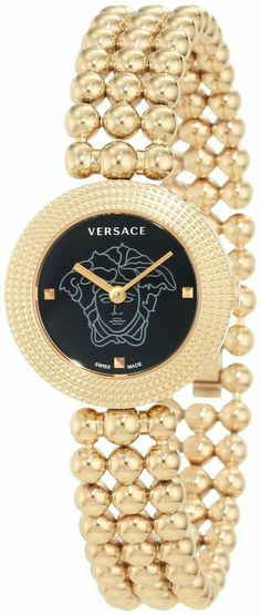 The EON collection from Versace is brought to life by the intricate filigree of the Clous de Paris finishing. The attention to detail and commitment to the finest quality co exist in every Versace creation, the EON family is no different. Jewelry Accessories, Fashion Accessories, Fashion Jewelry, Crystal Sphere, Beautiful Watches, Stainless Steel Bracelet, Luxury Watches, Fashion Watches, Gold Watch