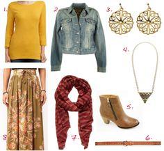 1. Sussan boat-neck top $29.95   2. Levis denim jacket @ Birdsnest $109.05    3. Design Studio earrings $11.21   4. Gorman necklace $89   5. Zetta boots @ Spendless Shoes $49.95   6. Sportsgirl hippy belt $24.95   7. Seed scarf $99.95   8. Minkpink maxi skirt @ ASOS $140.85