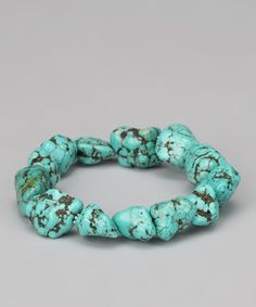 Take a look at this Turquoise & Sterling Silver Chunky Bead Stretch Bracelet by Athra on #zulily today!