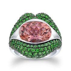 KissMe Pink Tourmaline and Tsavorite lips Ring