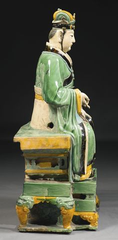 A LARGE AND IMPOSING SANCAI-GLAZED STONEWARE FIGURE OF A DAOIST DEITY<br>MING DYNASTY | lot | Sotheby's
