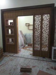 new latest partition design gallery. Room Partition Wall, Living Room Partition Design, Pooja Room Door Design, Room Partition Designs, Door Design Interior, Home Room Design, Partition Ideas, Wood Partition, House Arch Design