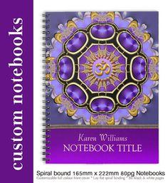 Golden Om Purple Fractal Mandala Spiral Notebook. #customizable