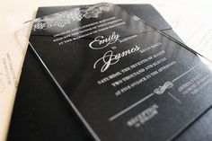 Engraved Acrylic Wedding Invitation - Vineyard