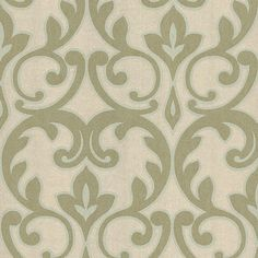 Wallpaper for accent wall behind headboard  601-58459 Champagne French Damask - Dior - Kenneth James Wallpaper
