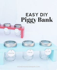 "We will show you how to create a wooden stand for 3 mason jars. You will end up with a piggy bank for kids that has a way for them to divide their money up into ""spend"", ""save"" and ""give"" categories!"