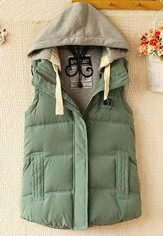 green puffer vest - i love the color of this and that the hood doesn't have fur
