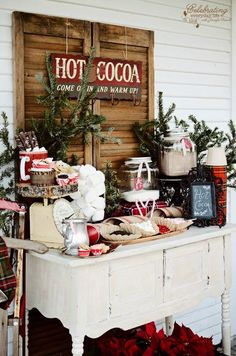 This gorgeous Hot Cocoa Bar brings a little warmth to the holidays! Fill it with treats and goodies to enjoy during a Holiday Party, after Skating Party, Snowman building and more! Visit our 100 Days of Homemade Holiday diy Inspiration for more recipes, home decorating ideas, family crafts, homemade gift ideas for the christmas season